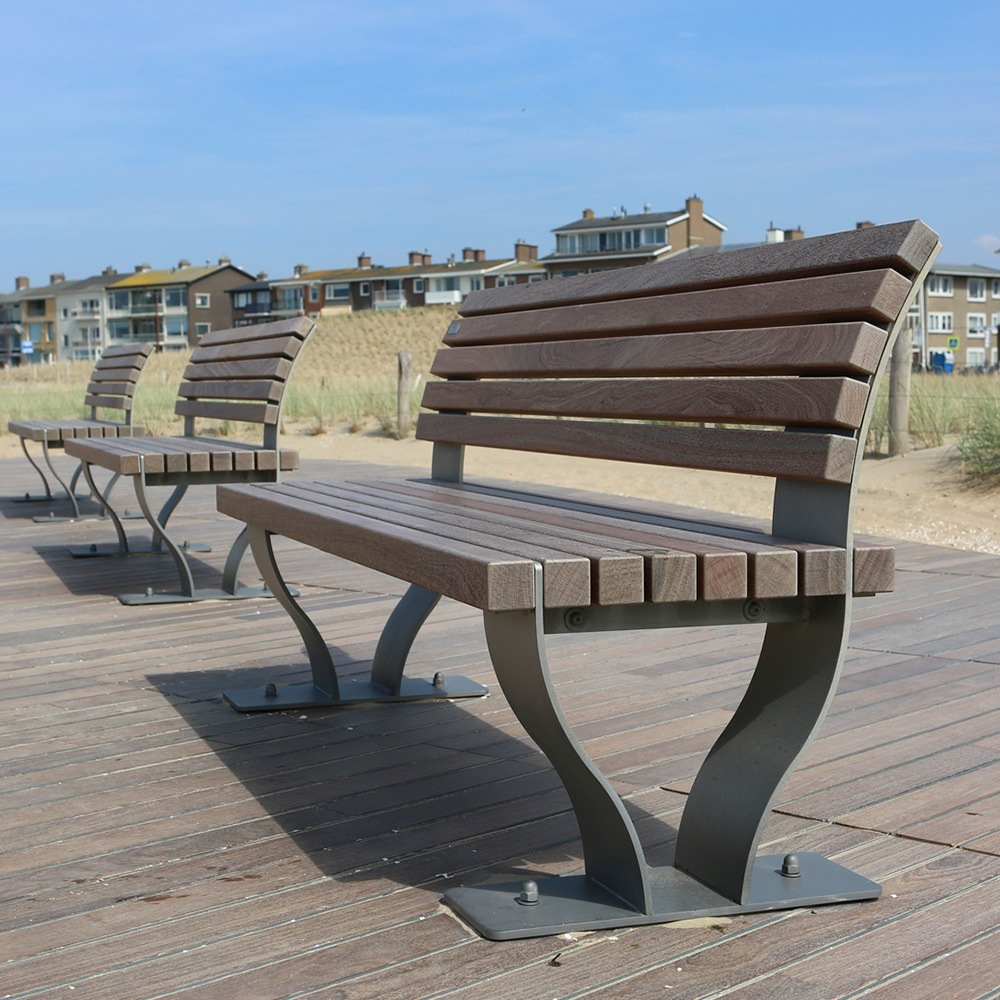 Outside beach bench of FSC wood