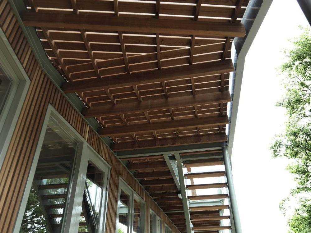 Onderaanzicht van het plafond met hardhout