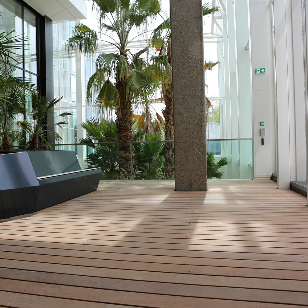 Tropical hardwood used in an office garden